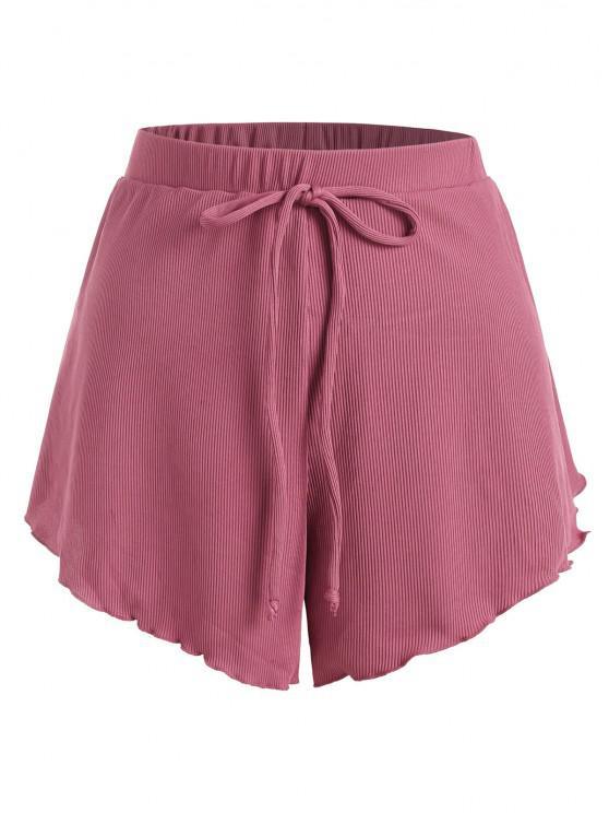 unique ZAFUL Plus Size Ribbed Bowknot Lettuce Trim Tulip Swim Shorts - LIGHT PINK XXL