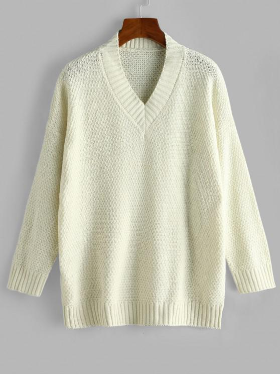 buy Drop Shoulder V Neck Slouchy Sweater - WHITE ONE SIZE