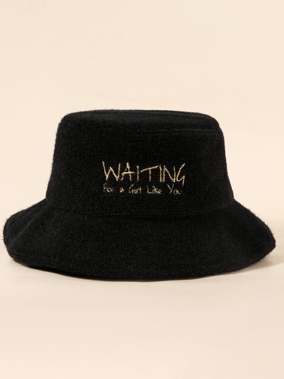 womens Embroidery Letter Pattern Fuzzy Bucket Hat - BLACK