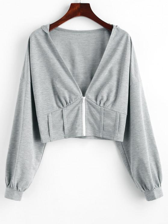 ZAFUL Plunge Front Drop Shoulder Zip Up Corset Hoodie - الرمادي الداكن XL