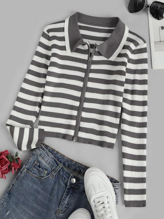 fashion Contrast Stripes Ribbed Zip Up Cardigan - MULTI-A ONE SIZE