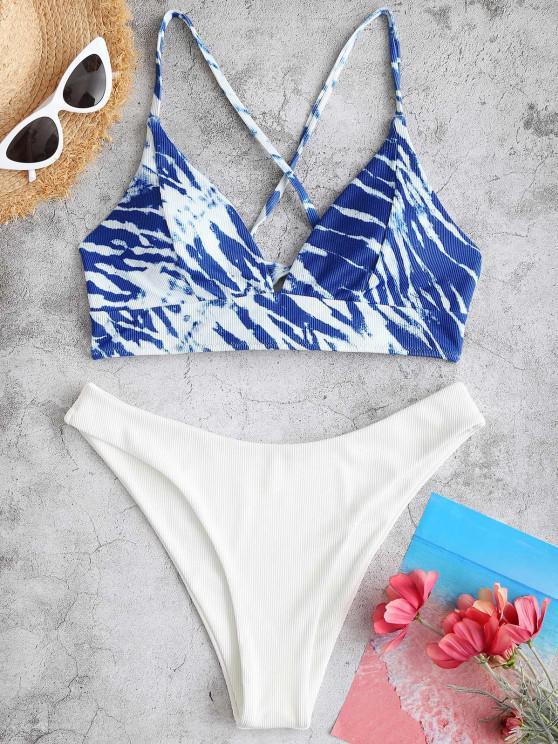 ZAFUL Tie Dye Ribbed High Cut Cross Bikini Swimwear - أزرق S