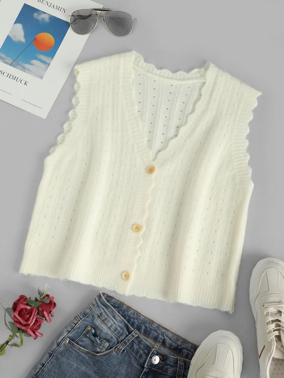 V Neck Pointelle Knit Scalloped Cardigan Vest - أبيض حجم واحد