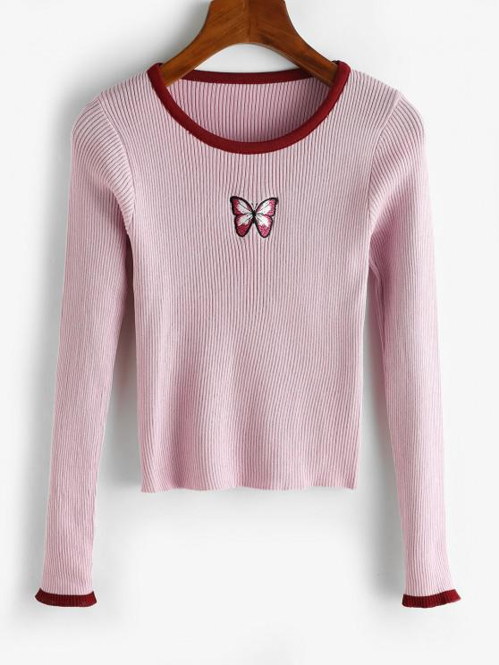 chic Ribbed Butterfly Embroidered Contrast Trim Slim Sweater - LIGHT PURPLE ONE SIZE