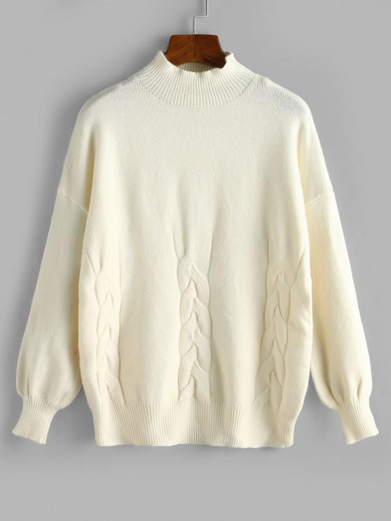 Camisola de Decote Alto com Ombro Caído - Branco Um Tamanho