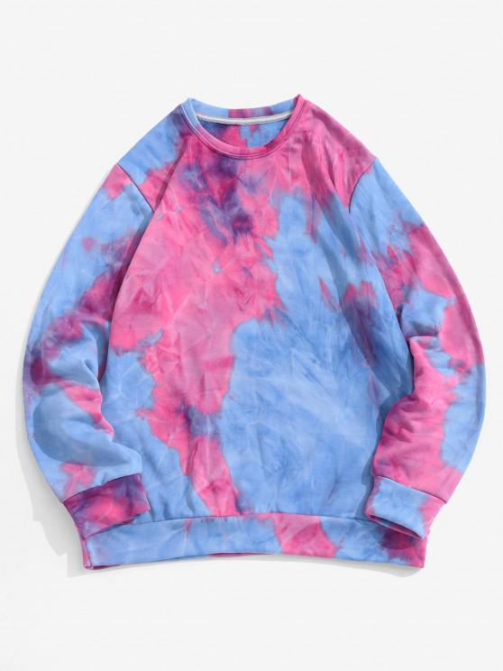 Contrast Tie Dye Printed Sweatshirt - بينك كب كيك L