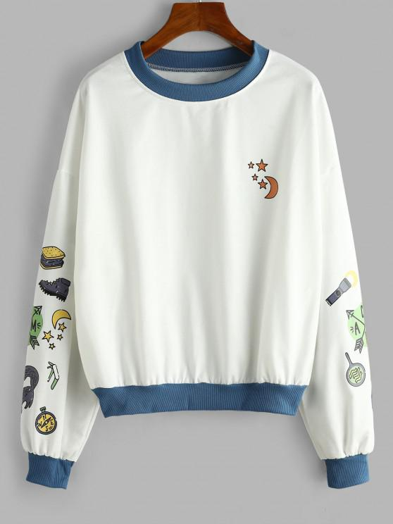 Funny Moon and Sun Drop Shoulder Oversized Sweatshirt - أبيض L