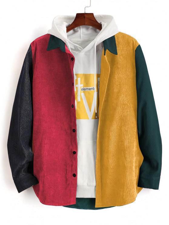 shop Colorblock Panel Long Sleeve Corduroy Shirt - DARK FOREST GREEN XL