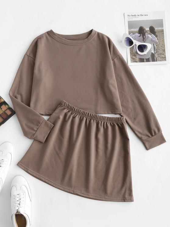 trendy Earth Tone Plain Cropped Two Piece Sweat Set - COFFEE M