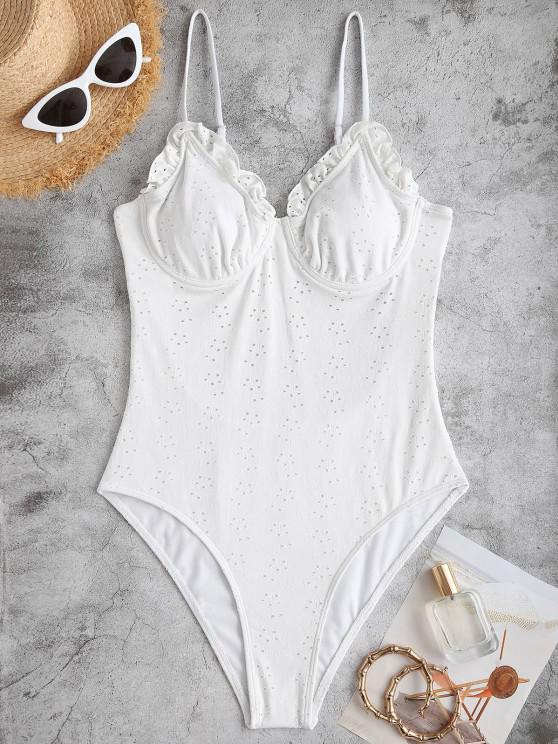 outfit ZAFUL Frilled Broderie Anglaise Underwire Bustier One-piece Swimsuit - WHITE S