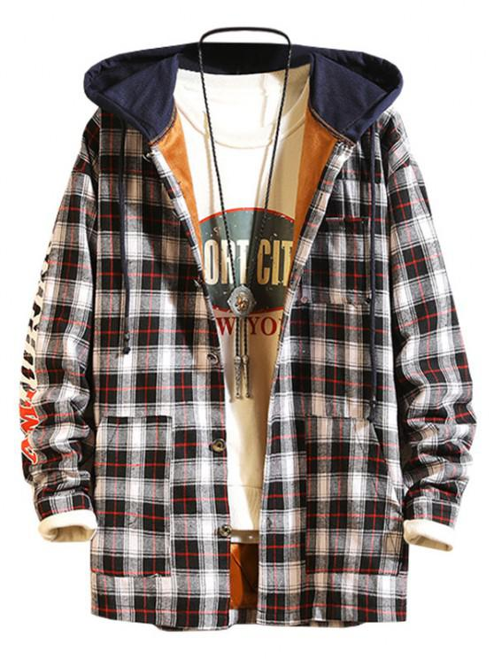 Plaid Fleece Colorblock Hooded Shirt Jacket - أسود M