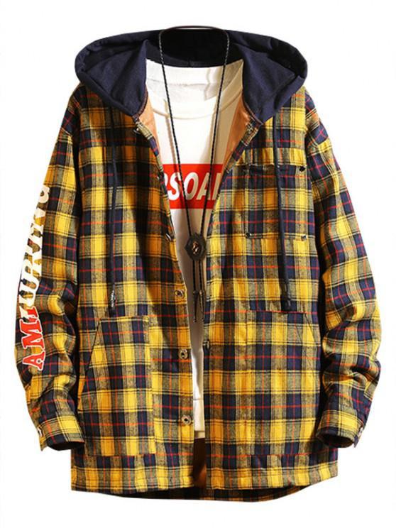 new Plaid Fleece Colorblock Hooded Shirt Jacket - YELLOW S