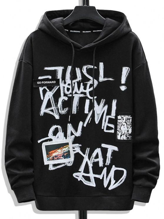Letter Graffiti Print Graphic Patched Hoodie - أسود M