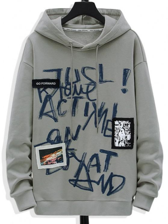 Letter Graffiti Print Graphic Patched Hoodie - اللون الرمادي L