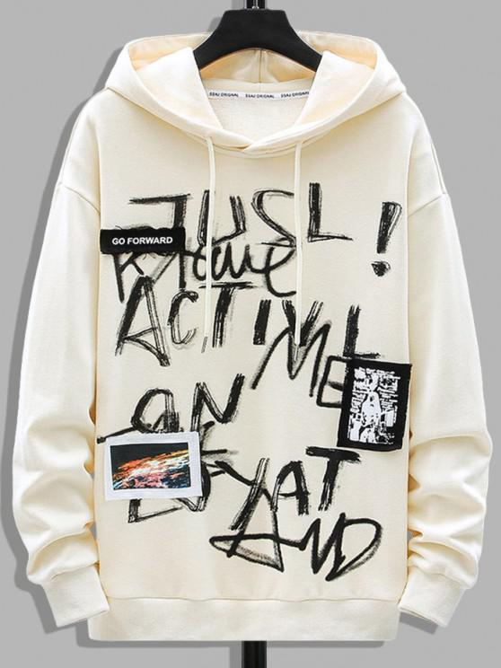 Letter Graffiti Print Graphic Patched Hoodie - اللون البيج S