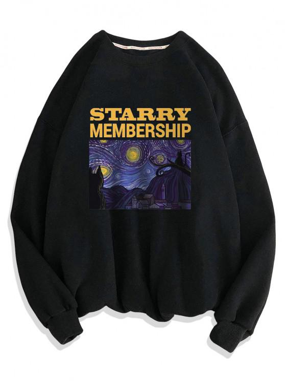 Galaxy Letters Print Drop Shoulder Sweatshirt - أسود 3XL