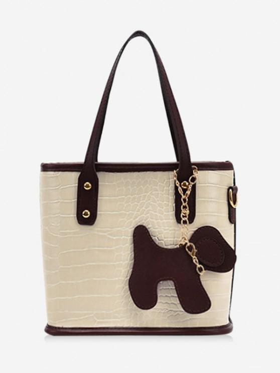buy Dog Detail Animal Pattern PU Leather Tote Bag - WARM WHITE