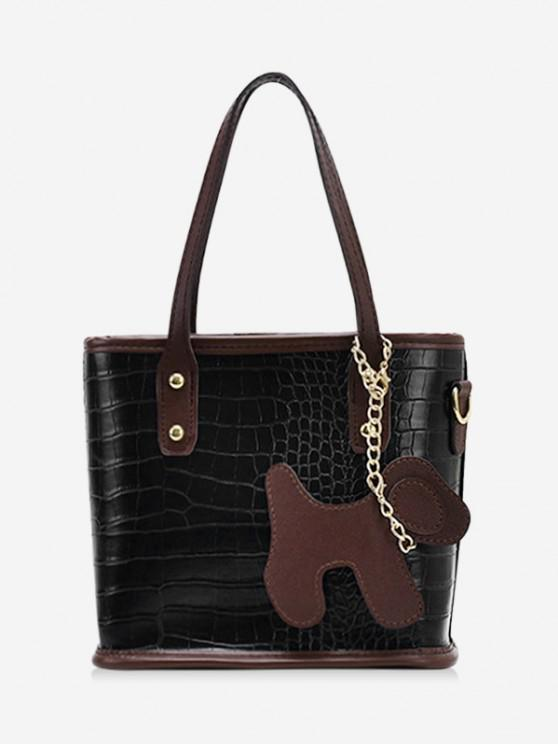 trendy Dog Detail Animal Pattern PU Leather Tote Bag - BLACK