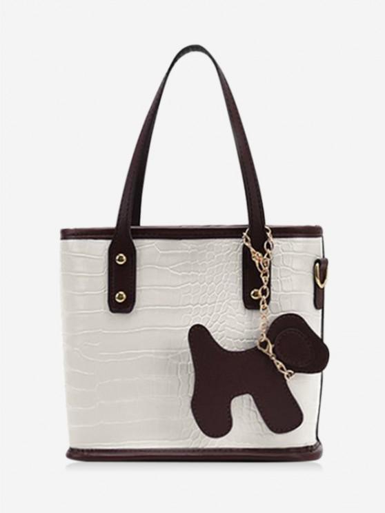 fashion Dog Detail Animal Pattern PU Leather Tote Bag - MILK WHITE