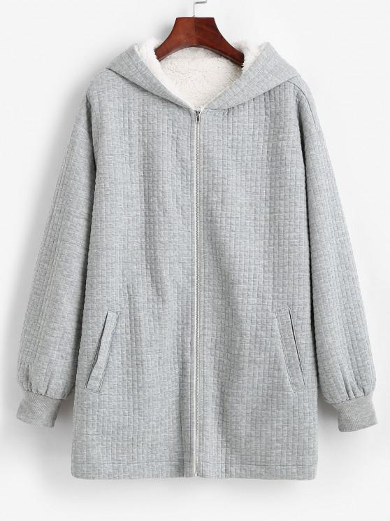 latest ZAFUL Hooded Pockets Zip Up Fleece Lined Coat - LIGHT GRAY M