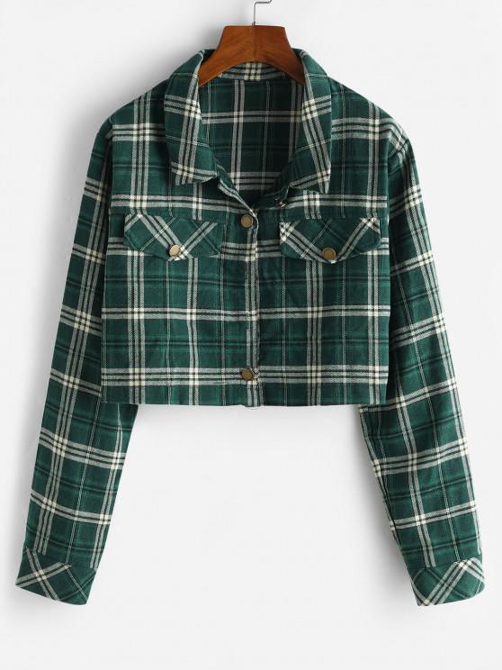 fancy Cropped Flap Detail Flannel Plaid Shacket - DEEP GREEN XL