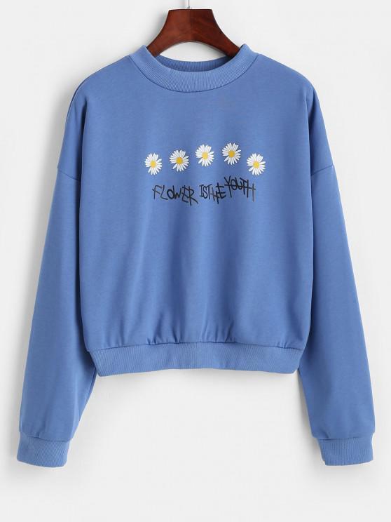 women's Daisy Flower Is The Youth Graphic Sweatshirt - SKY BLUE M