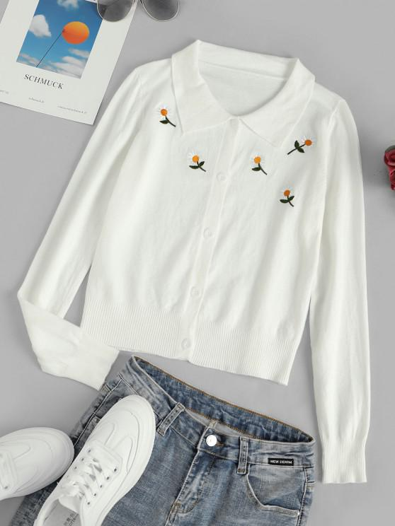 sale Button Up Daisy Embroidered Cardigan - WHITE ONE SIZE