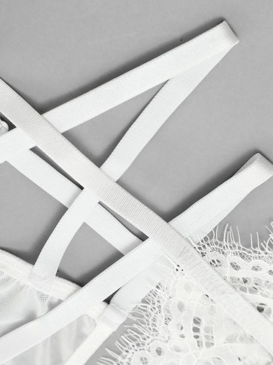 Eyelash Lace Underwire Garter Belt Lingerie Set - White L | ZAFUL