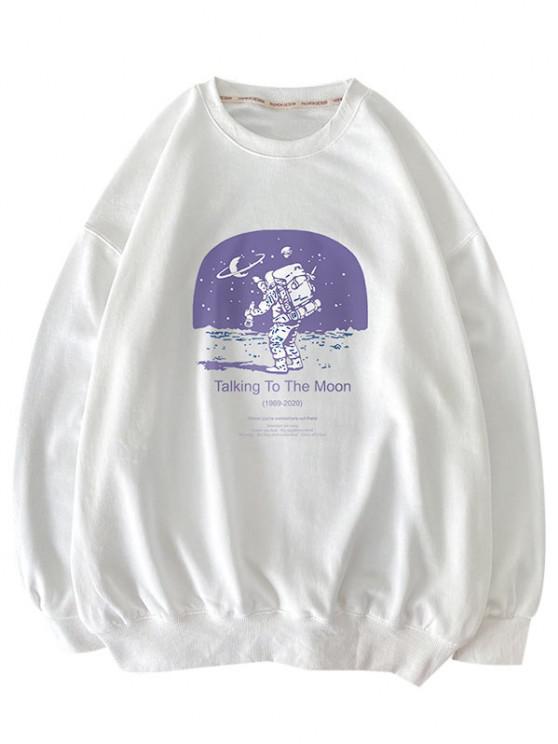 Buchstaben Astronaut Druck Graphik Sweatshirt - Weiß S
