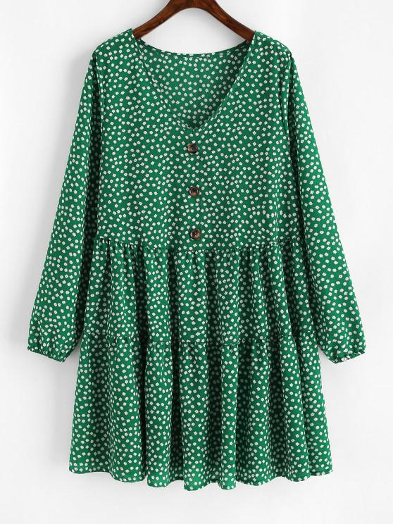 ladies Tiny Floral Mock Buttons Long Sleeve Dress - DEEP GREEN L