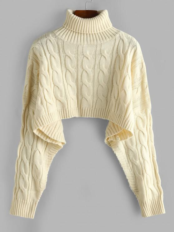online Turtleneck Cropped Cable Knit Sweater - LIGHT COFFEE ONE SIZE