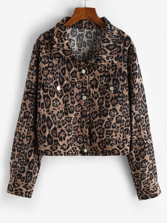 Leopard Button Up Corduroy Shacket - قهوة M