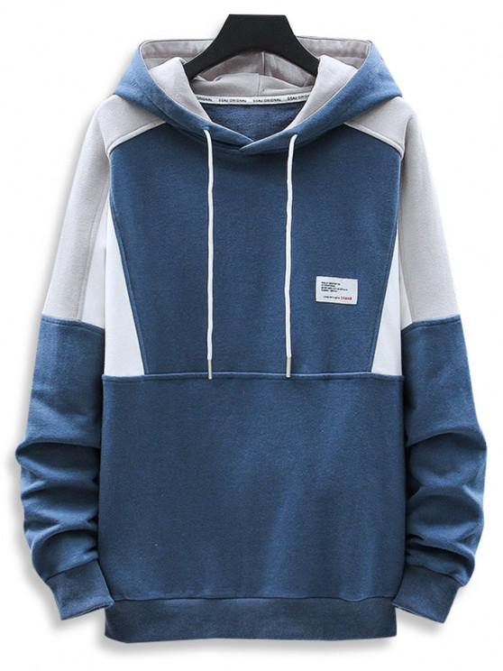Letter Patch Colorblock Panel Raglan Sleeve Hoodie - أزرق L