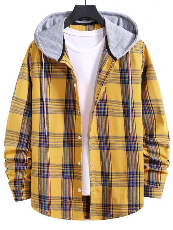 lady Hooded Plaid Print Curved Hem Drawstring Shirt - BRIGHT YELLOW M
