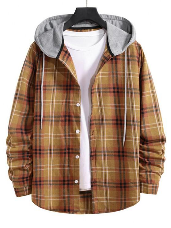 outfit Drawstring Plaid Print Button Up Hooded Shirt - BEE YELLOW L