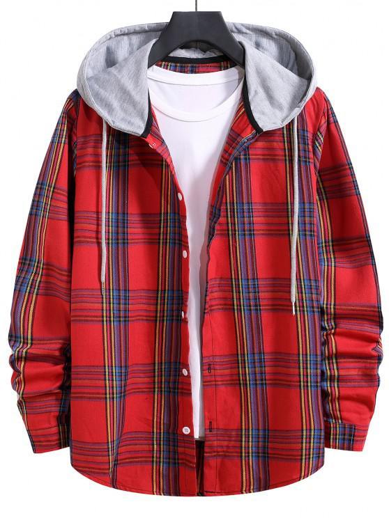 unique Hooded Plaid Print Curved Hem Drawstring Shirt - LAVA RED M
