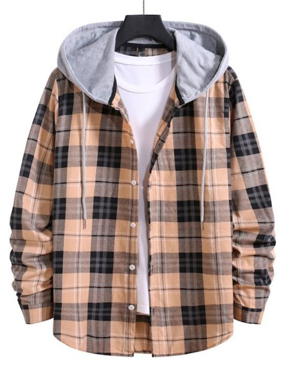 Drawstring Plaid Print Button Up Hooded Shirt - مشمش S