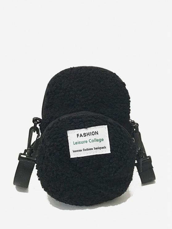 sale Cap Shape Fluffy Crossbody Bag - BLACK