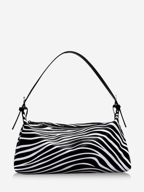 hot Animal Print PU Leather Shoulder Bag - BLACK
