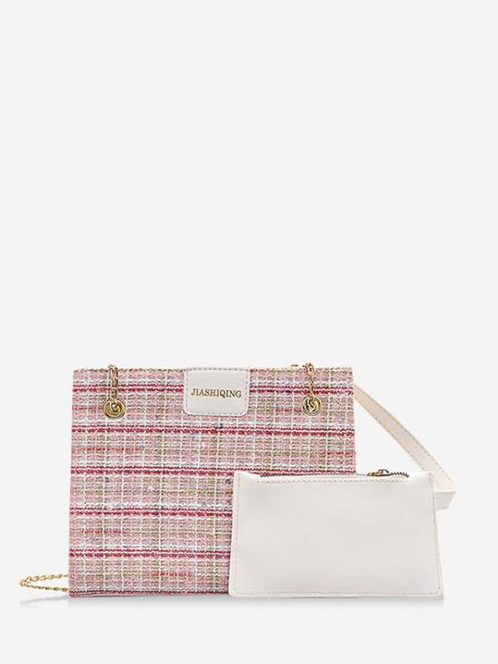 shop Plaid Pattern Sequin Chain Strap Shoulder Bag - LIPSTICK PINK