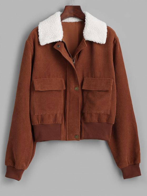 ZAFUL Reißverschluss Pelz Kragen Taschen Kordjacke - Braun S