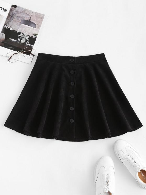 fancy Button Up Corduroy Mini Skirt - BLACK L