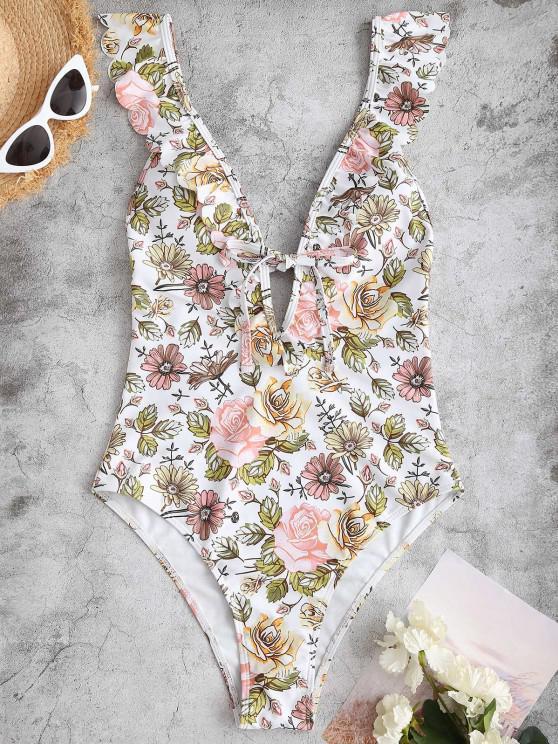 women ZAFUL Plunging Flower One-piece Ruffle Swimsuit - LIGHT PINK L