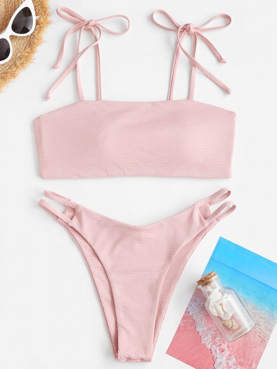 new ZAFUL Tie Shoulder Textured Ladder Cutout Bikini Swimwear - LIGHT PINK M