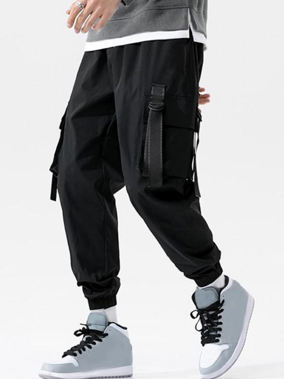 Pantalones de Carga con Correa Elástica de Hebilla de Cordón - Negro S