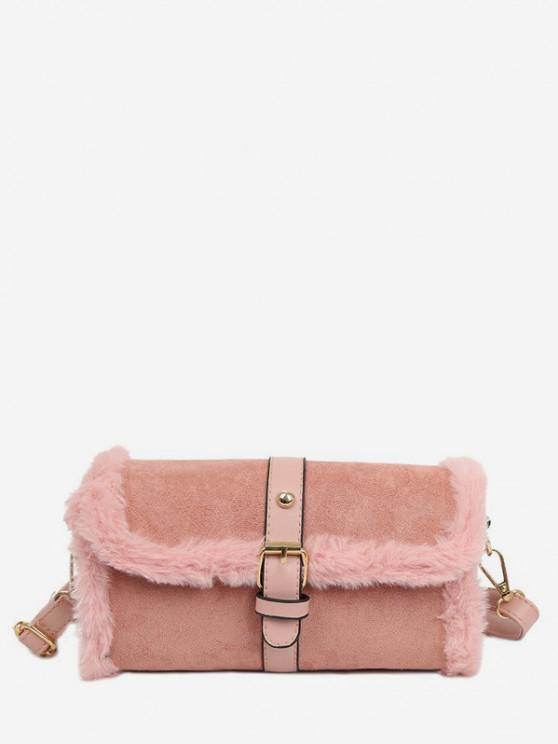 chic Faux Fur Trim Flap Crossbody Bag - PIG PINK