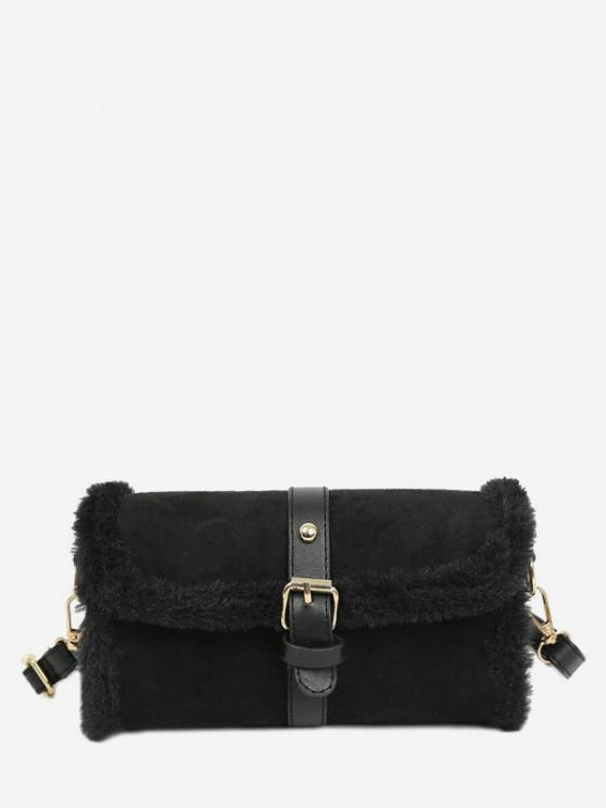 unique Faux Fur Trim Flap Crossbody Bag - BLACK