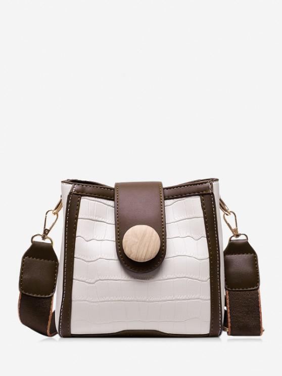 hot Animal Pattern Pu Leather Square Crossbody Bag - WHITE