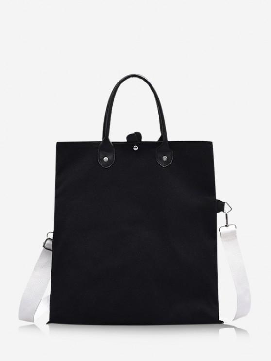 women Brief Canvas Fold Over Bag - BLACK