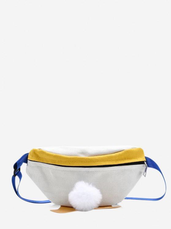 lady Colorblock Duck Design Canvas Chest Bag - NATURAL WHITE